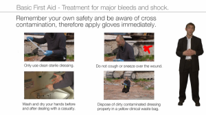 basic first aid - treatment for major bleeds and shock